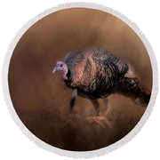 Wild Turkey In The Woods Round Beach Towel