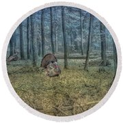 Wild Turkeys In Forest Version Two Round Beach Towel by Randy Steele