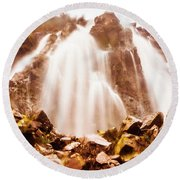Wild West Water Fall Round Beach Towel