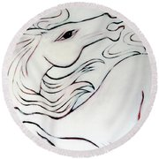 Wild White Round Beach Towel