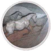 Wild White Horses Round Beach Towel