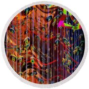 Round Beach Towel featuring the photograph Wild Wind Chimes by Sue Melvin