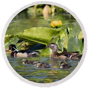 Wild Wood Duck Family Outing Round Beach Towel