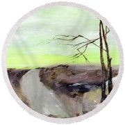Round Beach Towel featuring the painting Wilderness 2 by Anil Nene