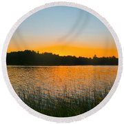 Wilderness Point Sunset Panorama Round Beach Towel by Gary Eason