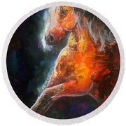 Wildfire Fire Horse Round Beach Towel