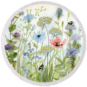 Round Beach Towel featuring the painting Wildflower And Bees by Laurie Rohner