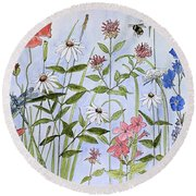 Round Beach Towel featuring the painting Wildflower And Blue Sky by Laurie Rohner