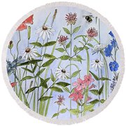 Wildflower And Blue Sky Round Beach Towel
