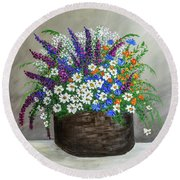 Round Beach Towel featuring the painting  Wildflower Basket Acrylic Painting A61318 by Mas Art Studio