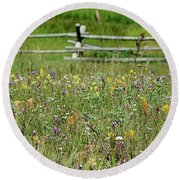 Wildflower Fence Round Beach Towel