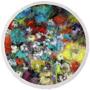 Round Beach Towel featuring the painting Wildflower Field by Frances Marino