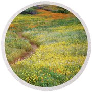 Round Beach Towel featuring the photograph Wildflower Field Near Diamond Lake In California by Jetson Nguyen