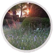 Wildflower Meadow At Sunset, Great Dixter Round Beach Towel