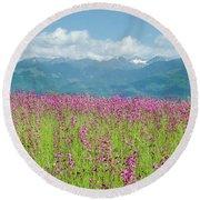 Wildflower Meadows And The Carpathian Mountains, Romania Round Beach Towel