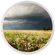 Wildflower Panorama 2008 Round Beach Towel