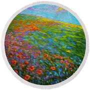Wildflower Pastoral Round Beach Towel