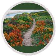 Wildflower Path At Ribera Beach Round Beach Towel