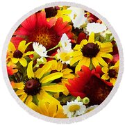 Wildflower Riot Round Beach Towel
