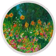 Wildflower Rush Round Beach Towel
