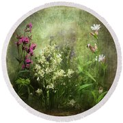 Wildflower Symphony Round Beach Towel