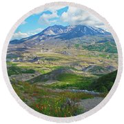 Wildflowers And Mt. St. Helens 4 Round Beach Towel