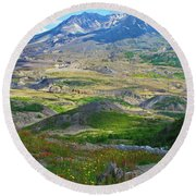 Wildflowers And Mt. St, Helens Round Beach Towel