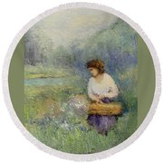 Round Beach Towel featuring the painting Wildflowers by Gail Kirtz