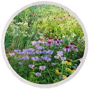 Wildflowers In Moraine Hills State Park Round Beach Towel