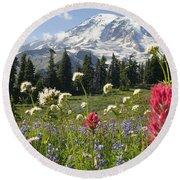 Wildflowers In Mount Rainier National Round Beach Towel
