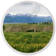 Wildflowers In The Grand Teton National Park Round Beach Towel