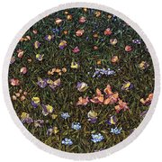 Round Beach Towel featuring the painting Wildflowers by James W Johnson