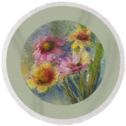 Round Beach Towel featuring the painting Wildflowers by Mary Wolf
