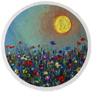 Wildflowers Meadow Sunrise Modern Floral Original Palette Knife Oil Painting By Ana Maria Edulescu Round Beach Towel