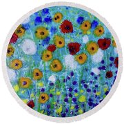 Wildflowers Never Die Round Beach Towel