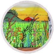 Wildflowers On The Farm Round Beach Towel