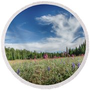 Wildflowers Reach For The Sky Round Beach Towel