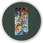 Round Beach Towel featuring the painting Wildgrape by Kovacs Anna Brigitta