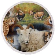 Wildlife Collage Round Beach Towel