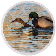 Wildlife Love Ducks  Round Beach Towel
