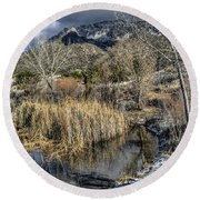Round Beach Towel featuring the photograph Wildlife Water Hole by Alan Toepfer