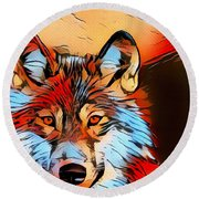 Wildlife Wolf 1 Round Beach Towel