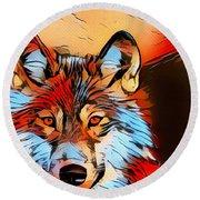 Wildlife Wolf 1 Round Beach Towel
