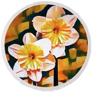 Wildly Abstract Daffodil Pair Round Beach Towel