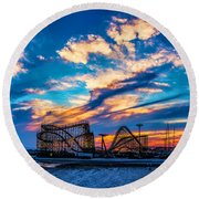 Wildwood Beach Sunset Round Beach Towel