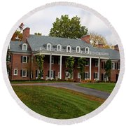 Wildwood Manor House In The Fall Round Beach Towel