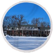 Wildwood Manor House In The Winter Round Beach Towel by Michiale Schneider