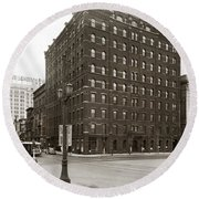 Wilkes Barre Pa Hollenback Coal Exchange Building Corner Of Market And River Sts April 1937 Round Beach Towel