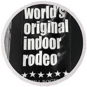 Will Rogers Rodeo Bw Round Beach Towel