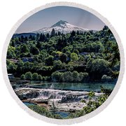 Willamette River Falls Locks Round Beach Towel